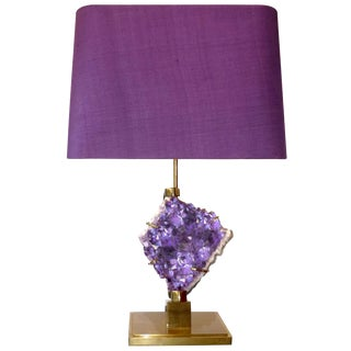 Bronze and Amethyst Lamp Attributed to Willy Daro / 7172 For Sale