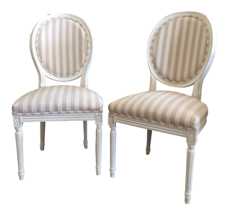 Paris Oval Side Chairs   A Pair For Sale