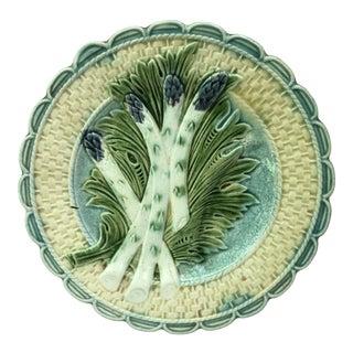 French Majolica Asparagus Plate Salins, Circa 1890 For Sale