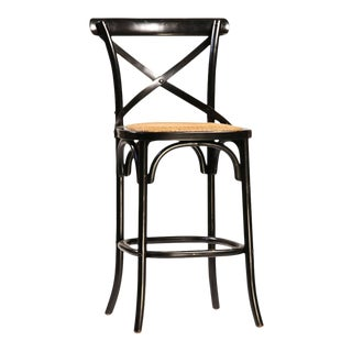 Black Painted Oak Counter Stool For Sale