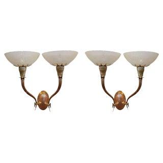 1930s Vintage Venini Italian Murano Filigrana Glass Sconces - A Pair