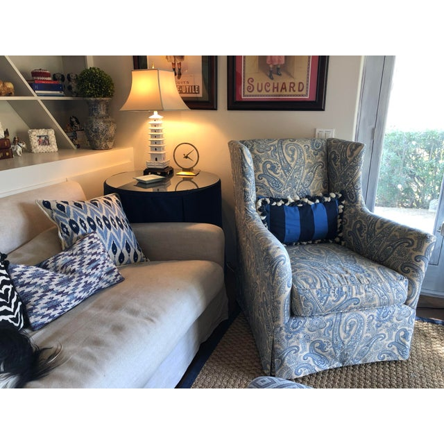 Contemporary Ralph Lauren Blue Paisley Custom Upholstered Hickory White Club Chair For Sale - Image 3 of 10