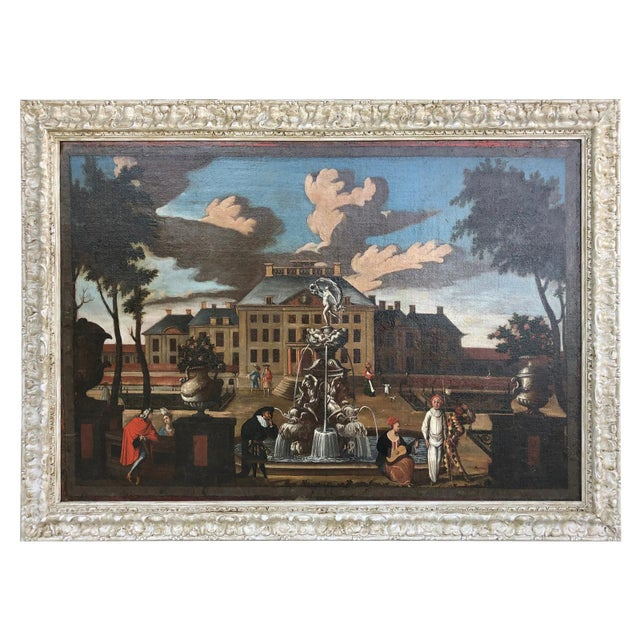 A fine and beautiful mid 17th century oil on canvas depicting an important palace image with courtyard and figures. The...