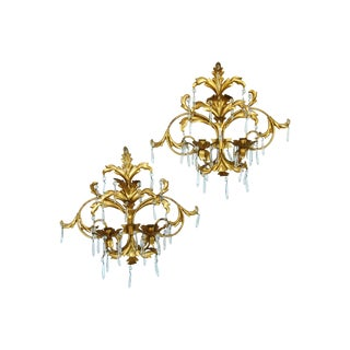 Hollywood Midcentury Glam Gilt & Crystal Candle Sconces - Pair For Sale