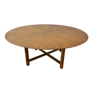 Large Scale Mid Century Round Walnut Coffee Table by Henredon C.1960 For Sale