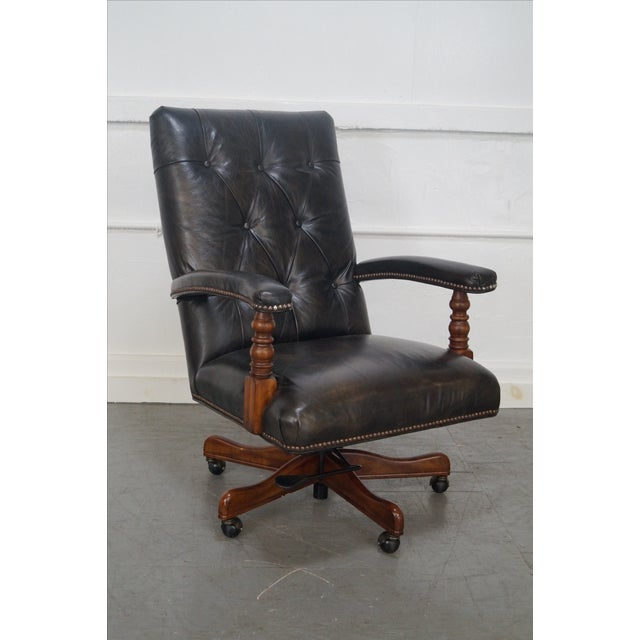Tufted Leather Executive Office Arm Chair - Image 2 of 8