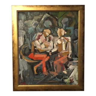 Abstract Seated Couple C. 1960 For Sale