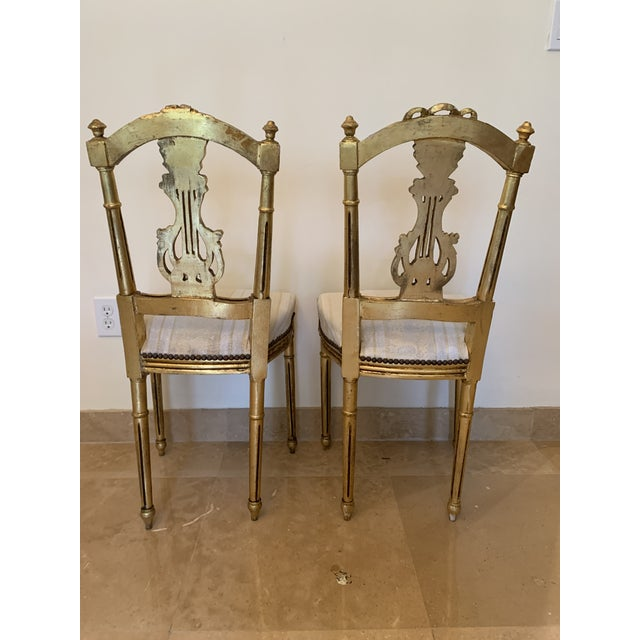 Gold Antique French Neoclassical Louis XVI Lyre Chairs - a Pair For Sale - Image 8 of 13