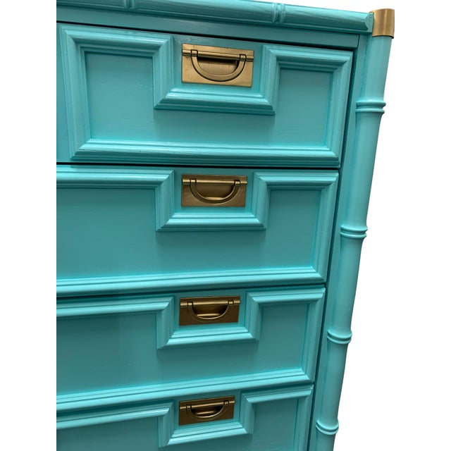 1960s Vintage Century Furniture Chinoiserie Aqua Faux Bamboo Highboy Dresser For Sale - Image 5 of 9