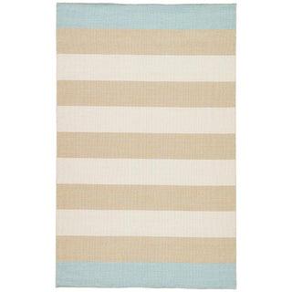 Jaipur Living Tierra Handmade Striped Tan/ Blue Area Rug - 8′ × 10′ For Sale