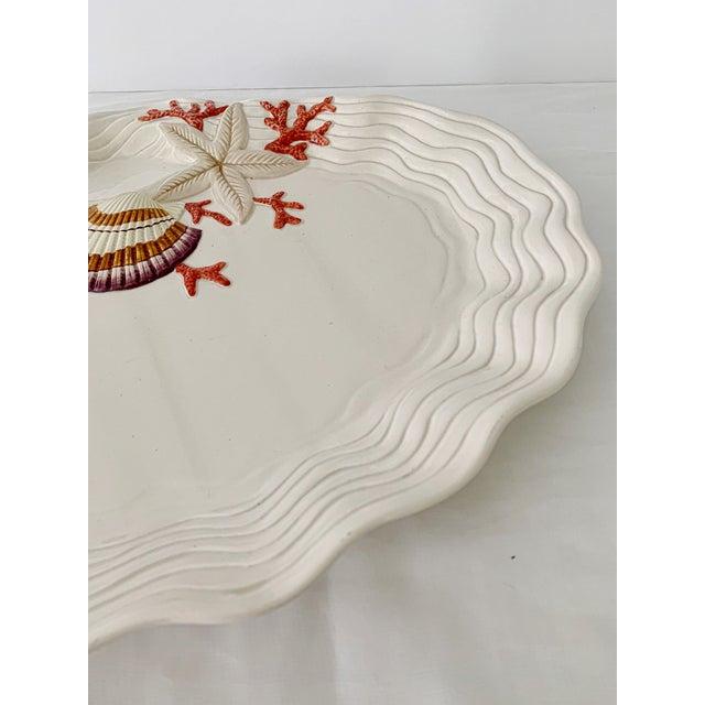 Ceramic Vintage Fitz & Floyd Ceramic Sea Shell Oyster Charger Serving Platter For Sale - Image 7 of 12