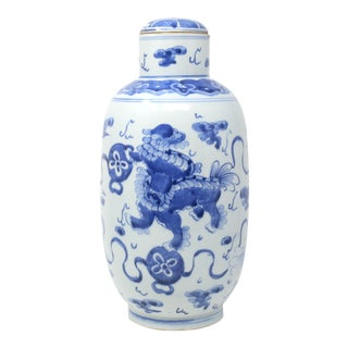 Tall Blue and White Heavy Vintage Hand Painted Ginger Jar With Foo Lions For Sale