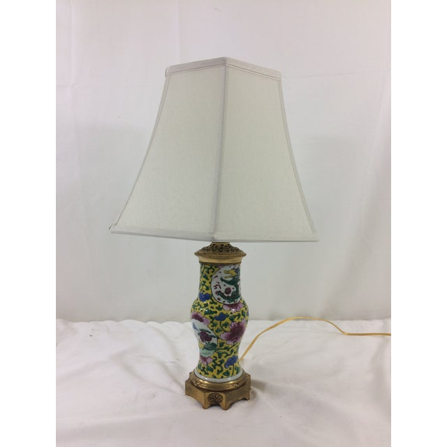 This great side lamp combines a Chinese export vase with bronze mounting, done in France ca. 1920. Newly rewired, new...