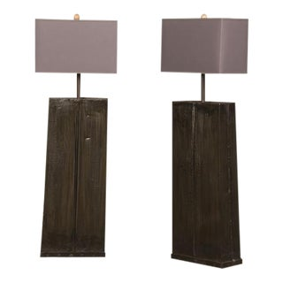 Contemporary French Tall Hand Made Iron Floor Lamps with Custom Shades - a Pair For Sale