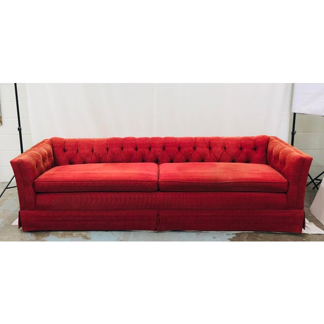 Vintage Chesterfield Style Tufted Button Back Sofa For Sale - Image 13 of 13