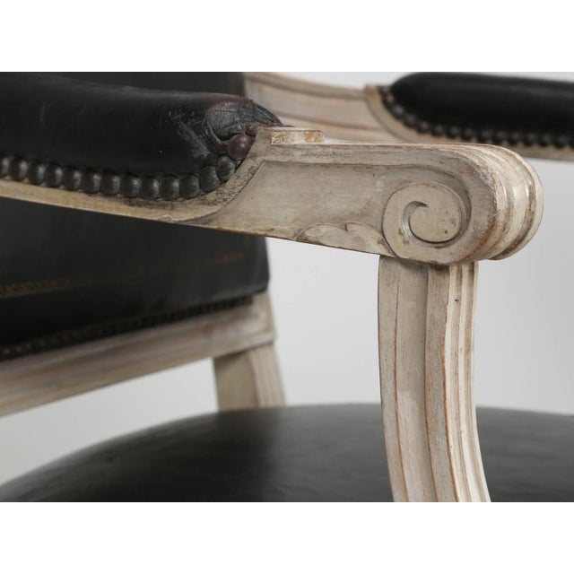 Louis XVI Style Armchairs in Original Paint and Black Leather - Set of 4 For Sale - Image 9 of 13