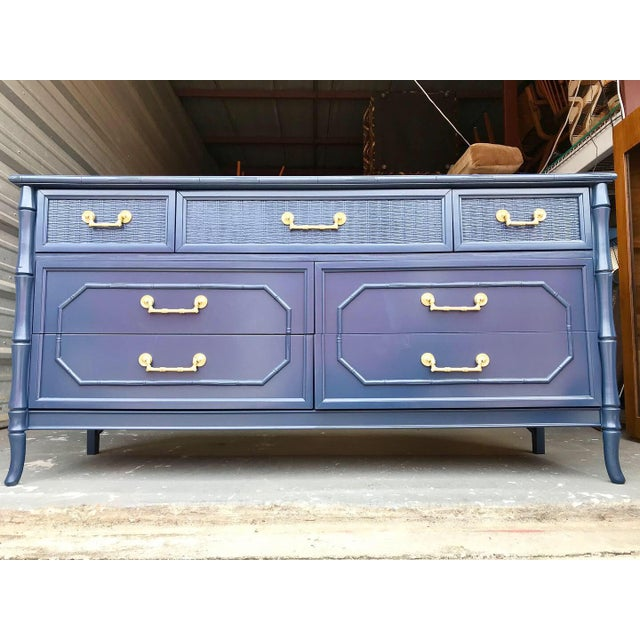 Hollywood Regency Faux Bamboo Broyhill Newly Lacquered Dresser For Sale - Image 3 of 11