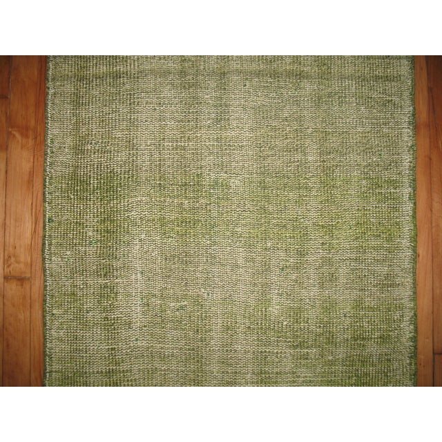 Green Over-dye Turkish Runner For Sale - Image 5 of 5