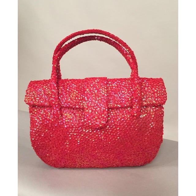Glass Hattie Carnegie Mid-Century Coral Sequin Covered Top Handle Evening Bag For Sale - Image 7 of 7