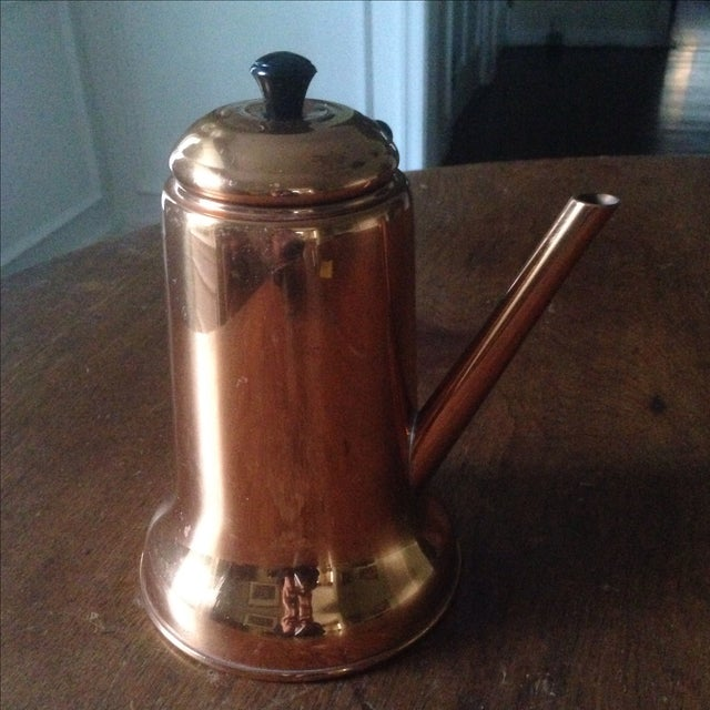 Vintage Side Handle Copper Coffee Pot For Sale - Image 5 of 11
