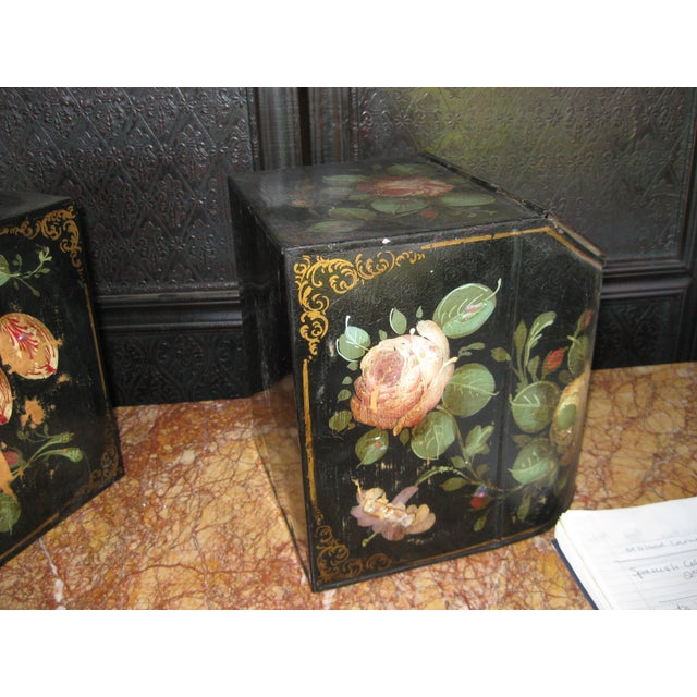 Metal Antique English Painted Tole Storage Containers - Pair For Sale - Image 7 of 7