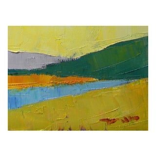 Small Abstract Colorist Landscape Oil Painting For Sale