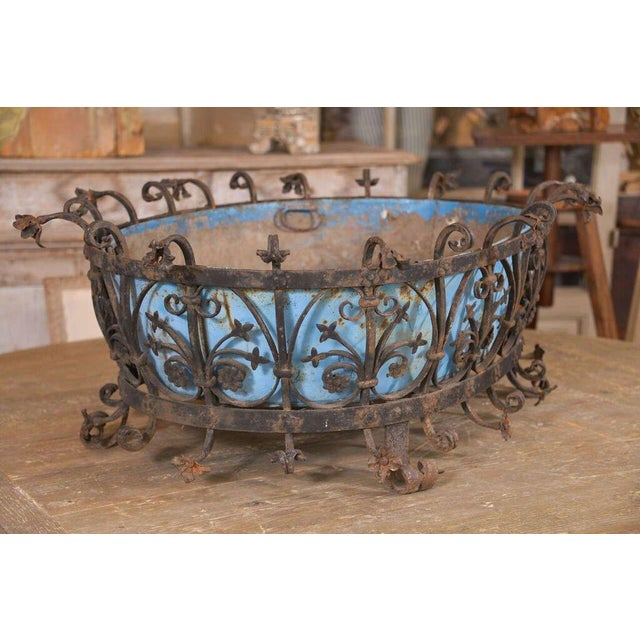 Metal Large Robust Italian Jardinière For Sale - Image 7 of 7