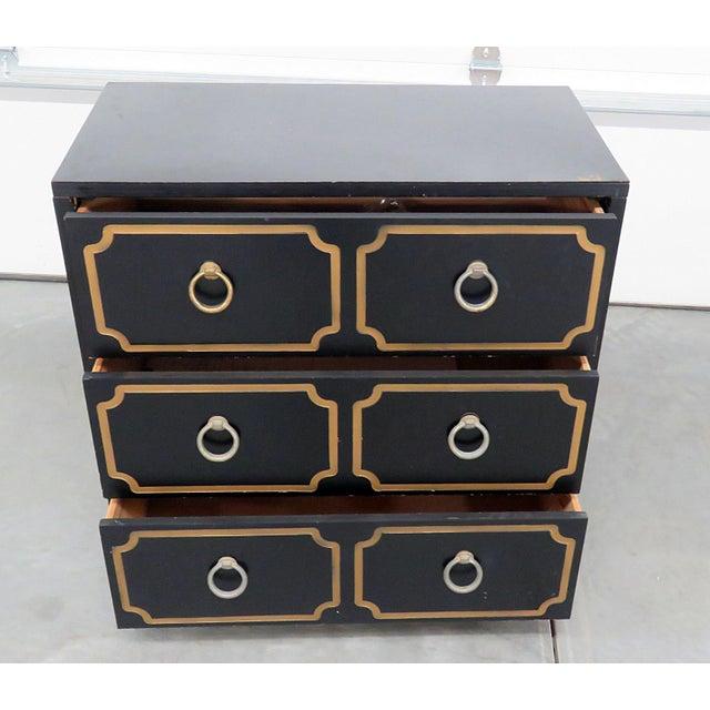 Mid-Century Modern Ebonized Black & Gold Chest For Sale - Image 4 of 10