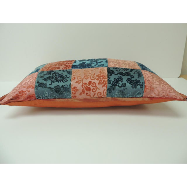 Asian Pink and Blue Romance Through the Gilded Age's Asian Textiles Patchwork Pillow For Sale - Image 3 of 5