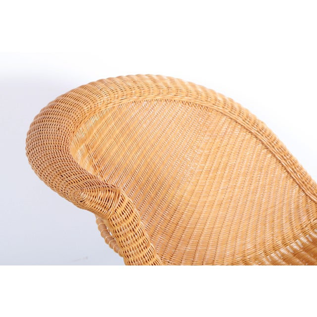 1970s Vintage Mid Century Modern Wicker Chaise Lounge For Sale - Image 5 of 9