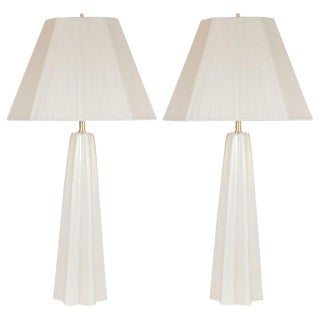 Modernist Hand Blown Murano Pearlescent Sculptural X-Form Table Lamps - a Pair For Sale
