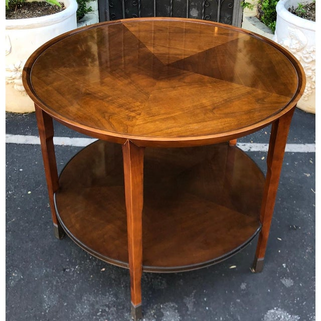 Hollywood Regency Pair of Bill Sofield for Baker Round Mahogany Designer Side Tables For Sale - Image 3 of 7