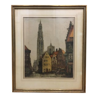 Alfred Van Neste Pencil Signed Colored Etching For Sale