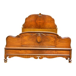 Antique French Louis XV Style Demilune Burled Solid Walnut Full Size Double Bed