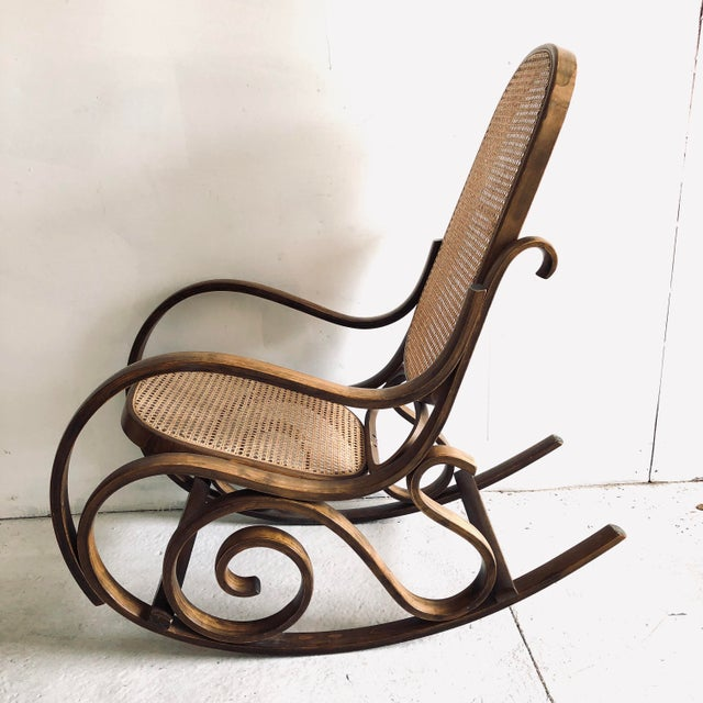 Bentwood and Caned Rocking Chair Thonet Style For Sale In New York - Image 6 of 8