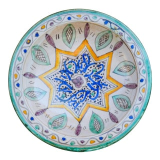Fine Moroccan Ceramic Wall Plate For Sale
