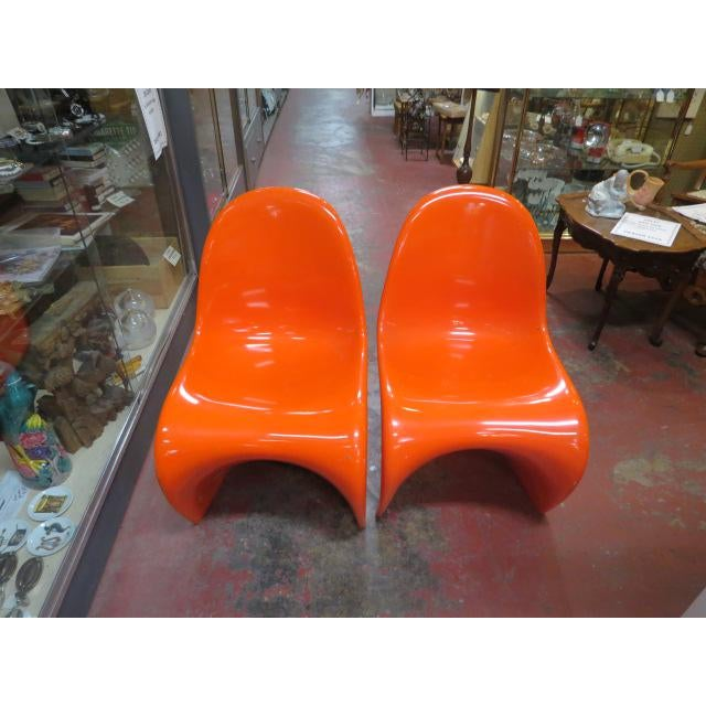 Vintage Vitra for Herman Miller Mid-Century Modern Orange Verner Panton S Chairs - a Pair For Sale - Image 13 of 13