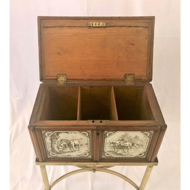 Antique English Humidor on Stand Inlaid With Minton Porcelain Tiles Depicting Horses and Livestock Scenes, Circa 1860-1880. For Sale In New Orleans - Image 6 of 7