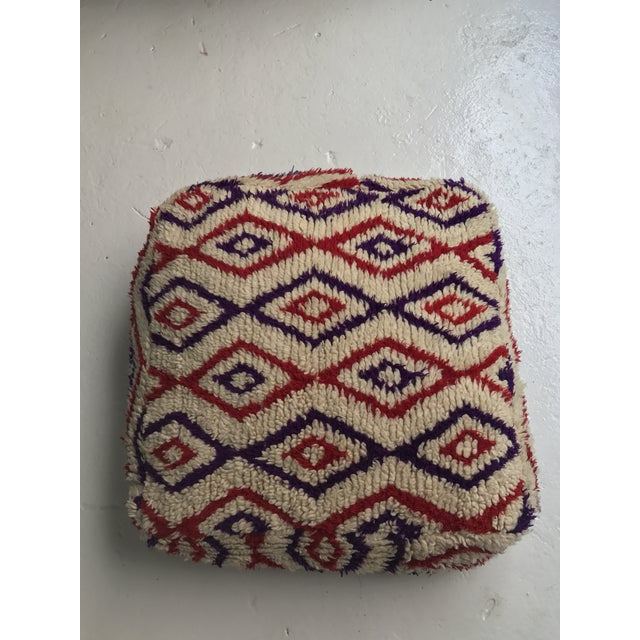 Vintage Moroccan Wool Stuffed Pouf - Image 2 of 7