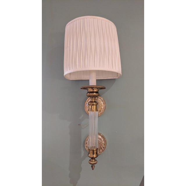 A rare set of Paul Hanson sconces. Hollywood Regency glass column and brass with white shade. In great condition, wear...