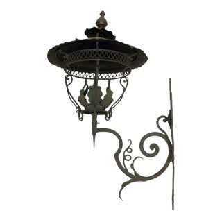 Wrought Iron Wall Sconce Lantern For Sale