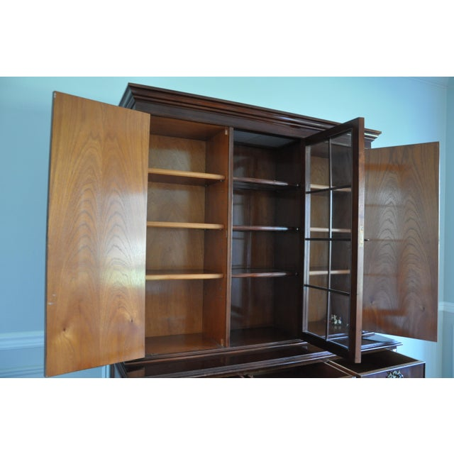 Vintage Artisan Crafted Mohogany Breakfront China Cabinet For Sale - Image 5 of 6