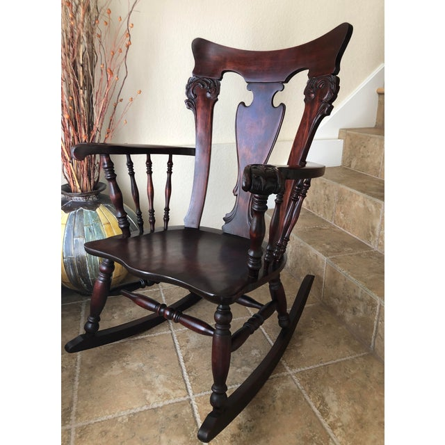 Gothic Jacobean Colonial Revival-Inspired Carved Rocking Chair For Sale - Image 3 of 13