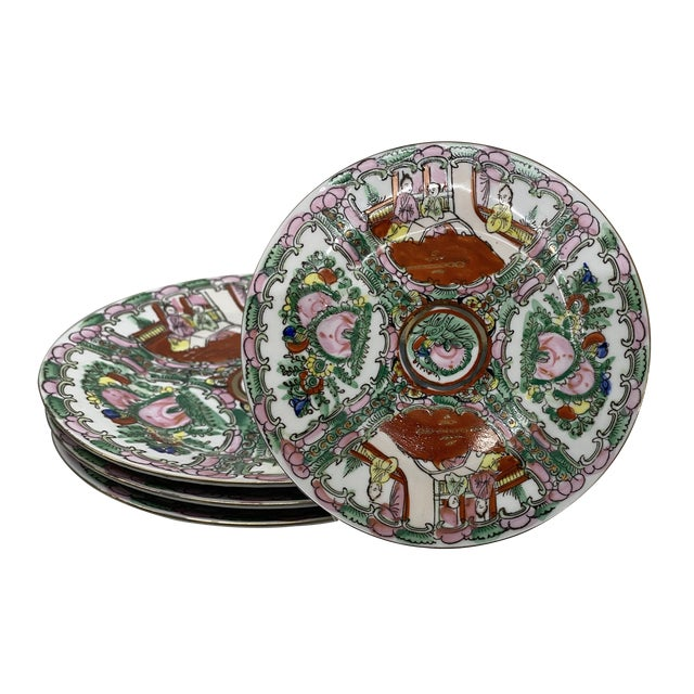 Vintage Small Rose Medallion Decorative Plates Set of 4 For Sale - Image 12 of 12