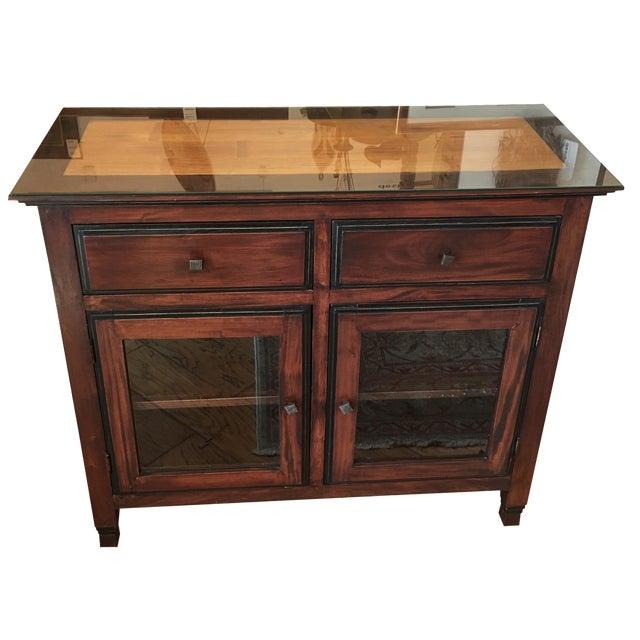 Bamboo Inlay Wood & Glass Bureau - Image 1 of 10