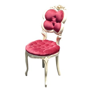 Vintage French Provincial Tufted Red Velvet Heart Shaped Style Accent Chair