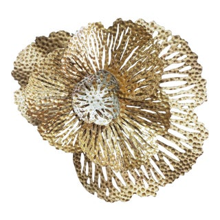 Vintage Stainless & Lacquered Floral Wall Sculpture For Sale