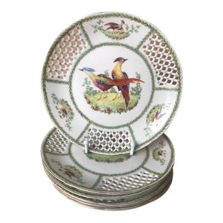Antique 1940s Austrian Porcelain Reticulated Plates - Set of 6 For Sale