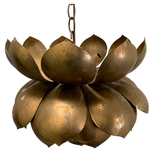 1970s Feldman large brass lotus pendant light. Newly rewired. Takes one standard bulb and three chandelier bulbs (not...