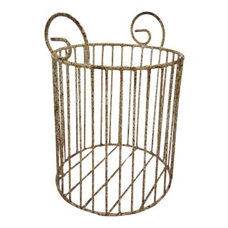 Antique Metal Planter Basket For Sale